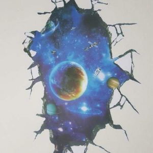 A 3D wall sticker of outer space. There are planets