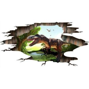 A 3D wall or floor sticker with a prehistoric dinosaur theme.