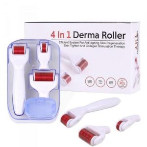 A white and red derma roller. There are 3 in a plastic container and 3 lying flat on the table. Behind is the derma roller packaging.