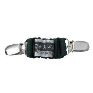 A black 4aKid car strap clip with silver brace clips on either side and the 4aKid label attached.