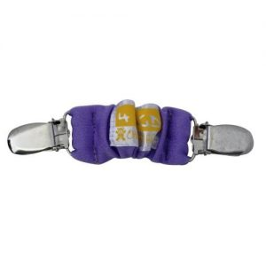 A purple 4aKid car strap clip with silver brace clips on either side and the 4aKid label attached.