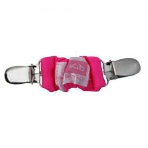 A pink 4aKid car strap clip with silver brace clips on either side and the 4aKid label attached.