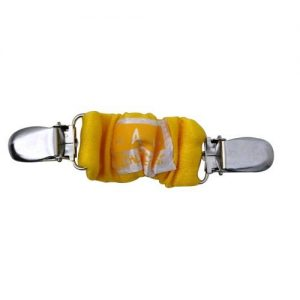 A yellow 4aKid car strap clip with silver brace clips on either side and the 4aKid label attached.