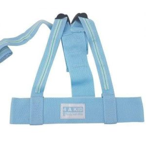 A blue 4aKid child safety harness. It has a 4akid label attached with a strap.