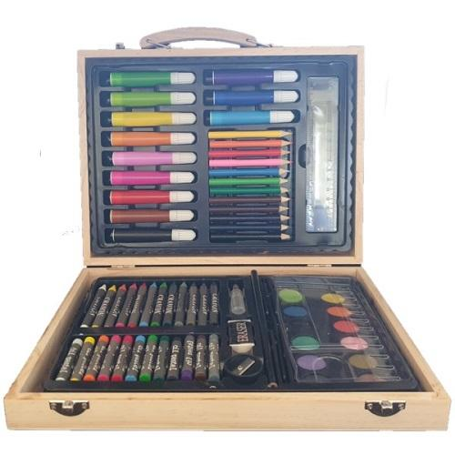 An open art set case filled with crayons