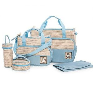 A blue and white baby bag set with polka dots. This set includes a large nappy bag