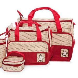 A red and white baby bag set with polka dots. This set includes a large nappy bag
