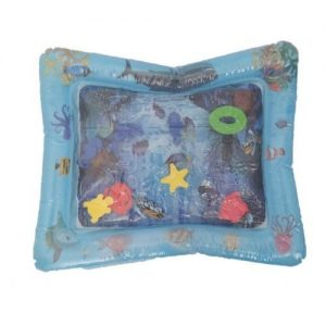 An inflatable sea-life theme water mat for babies and toddlers. the middle is filled with water and has foam toys inside.