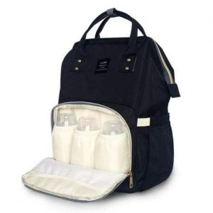 A black backpack nappy bag. The front pocket is open. It has 3 baby bottles inside.