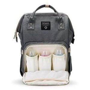 A grey backpack nappy bag. The front pocket is open. There are 3 baby bottles inside.
