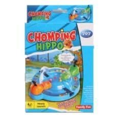Chopping hippo game in blue box packaging. It has an illustration of the the game on the box.