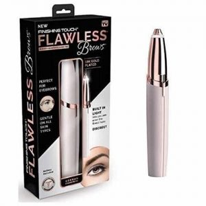 Image shows the Flawless brows packaging in a white and black box. On the right it shows the Flawless Brows pen in white and rose gold.