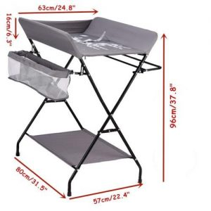 A grey changing table showing dimensions.