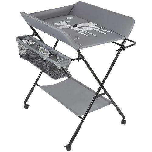 A portable changing table for babies in grey. It has a bottom shelf and a storage organiser on the side. There is a picture of a giraffe of the changing table.