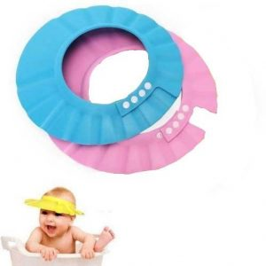 There is a pink and blue shampoo cap with 4 adjustable clips. This image also shows a baby in a bath tup wearing a yellow shampoo cap on his head.