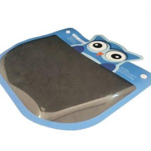 A kids blue owl face shield lying flat at an angle.