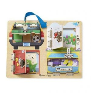 A wooden lock board for toddlers from Melissa & Doug. There are 4 different locks with 4 different pictures under the doors.