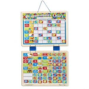 A wooden responsibility chart for children from Melissa and Doug. It has the days of the week
