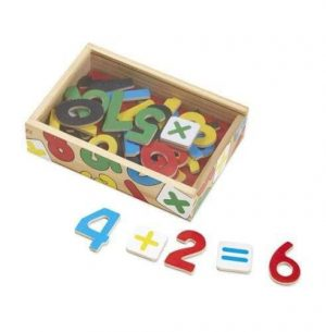 Wooden magnetic numbers in different colours and maths signs. The numbers are in a wooden box. Decorated with colour numbers.