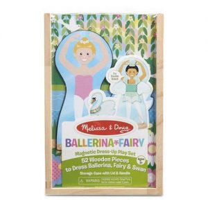A ballerina and fairy magnet set in a wooden box.