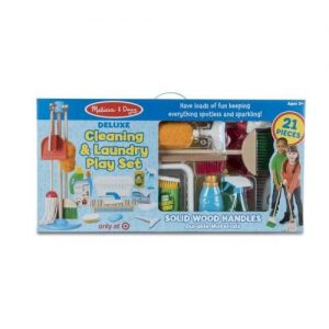 A cleaning & laundry Play Set by Melisa & Doug for kids in box packaging.
