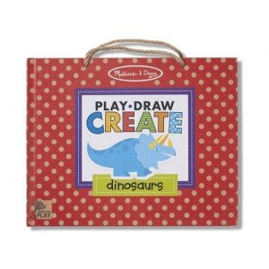 "A red polka dot book with a rope handle. It has a dinosaur on the cover and the title is 'Play Draw Create""."