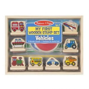 A vehicle-themed stamp set in a wooden box.