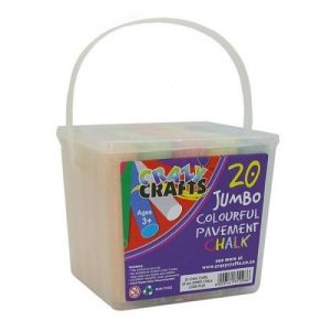 A white plastic container with large handle. There is a crazy crafts label with 20 jumbo colourful pavement chalks inside.