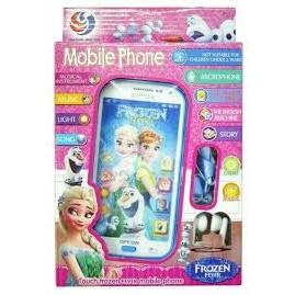 A pink toy phone with the frozen theme for kids. The phone is in pink box packaging with Elsa is on the front. It also shows the different functions of the phone.