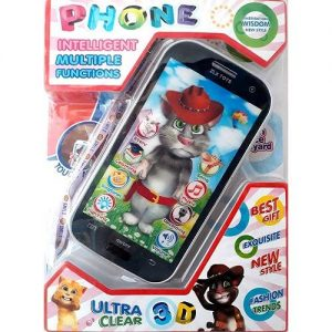 A black Talking Tom kids interactive phone. It is in plastic packaging displaying different functions.