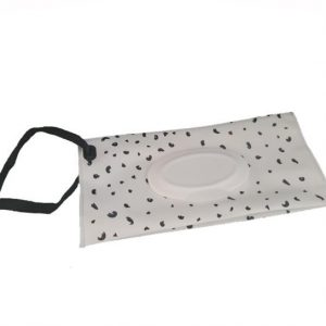 A Reusable Wet Wipes Pouch with Black Dots design and black nylon strap.