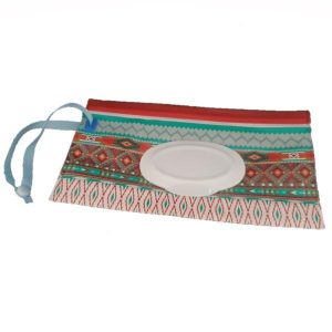 A Reusable Blue & Brown Ethnic Wet Wipes Pouch with blue nylon strap.