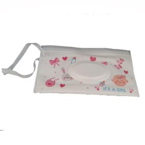 A Reusable Wet Wipes Pouch with Pink Hearts & Bows with a nylon strap.