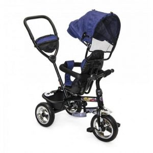 navy and black rear facing pram with navy canopy.