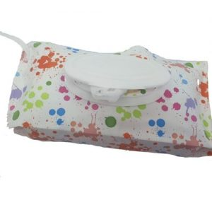 A reusable wet wipes pouch with a splashed paint design and a white nylon strap. There are wet wipes inside the pouch.