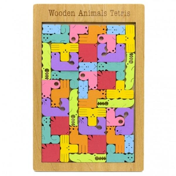 A wooden grid filled with animal shaped pieces in assorted colours.