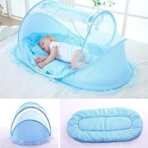 4aKid Safety Large Baby Sleeping Tent – Blue Sleeping - 4aKid