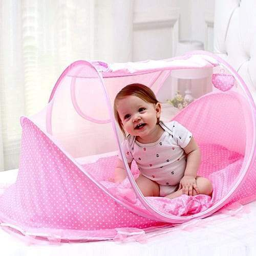 4aKid Safety Large Baby Sleeping Tent – Pink Sleeping - 4aKid