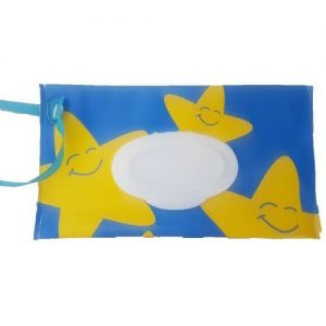 A blue reusable wet wipes pouch with yellow smiley stars with a blue nylon strap.