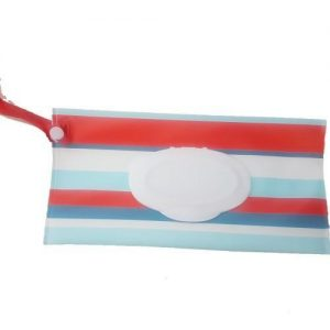 A red and blue stripe reusable wet wipe pouch with nylon strap.