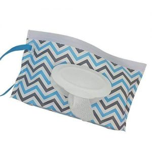 A reusable wet wipes pouch with grey and blue zigzag design. It also has a blue nylon strap.